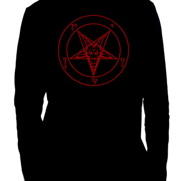 Red Inverted Pentagram Sabbatic Baphomet Men's Long Sleeve T-Shirt