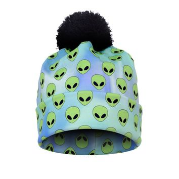 2017 New Autumn and Winter Women 3D Printed Alien Green Warm Pompon Hat Beanies Unique Colorful Nice Knitted Hat