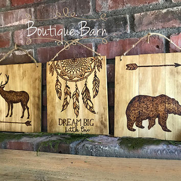 Dream Catcher Wood Sign Tribal Nursery Wall Decor Woodland Animal Rustic Decor Wall Art Baby Shower Gift Black Bear Deer Western Decor Dream