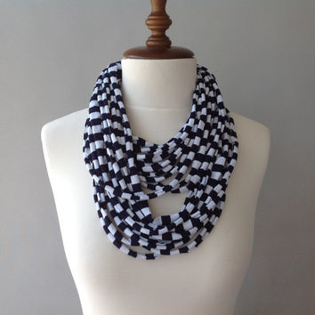 Nautical Cotton Jersey Scarf, layered scarf, infinity scarf