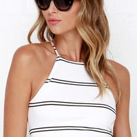 Ride or Die Ivory Striped Crop Top