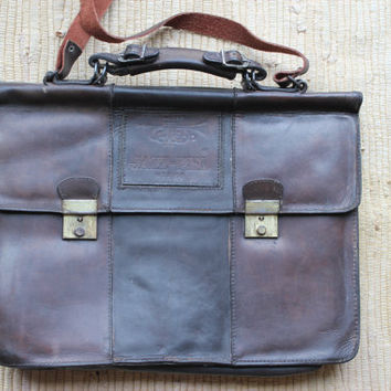 vintage leather messenger bag by urbanastore on Etsy