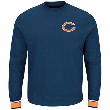 Majestic Chicago Bears Mens Navy Blue Classic Long Sleeve Crew Sweatshirt