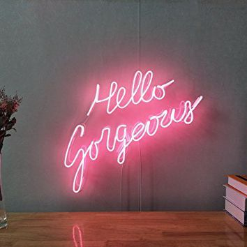 Hello Gorgeous Real Glass Neon Sign For Bedroom Garage Bar Man Cave Room Home Decor Handmade Artwork Visual Art Dimmable Wall Lighting Includes Dimmer
