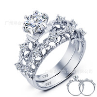 New Arrival Jewelry Gift Shiny Stylish Korean Hollow Out 925 Silver Couple Ring [10427410132]