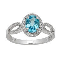 Sterling Silver Swiss Blue Topaz & Lab-Created White Sapphire Halo Ring (Blue/Topaz/Stone)