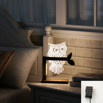 Creative 3d bedroom LED night light wood+ABS adjustable lighting owl desk lamp led reading lamp light