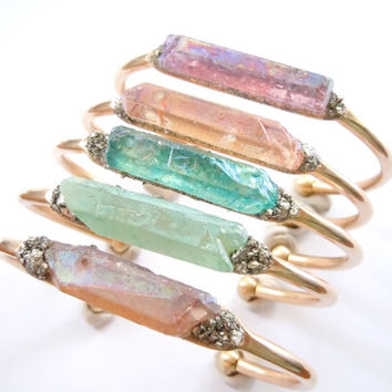 Raw Crystal Point Bracelet -Raw Stone- Aquamarine and Pyrite Minerals -Cuff  Bracelet - Boho