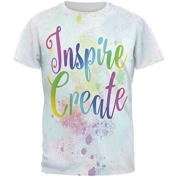 Inspire and Create Pastel Half Tone Art All Over Mens T Shirt