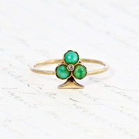 Victorian Turquoise & Rose Cut Diamond Ring, Antique French 18k Napolean III Royalist Trefoil Spade Clover Motif, Boho Statement Ring