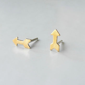 Arrow Stud Earrings - Minimalist Geometric Symbol Brass Jewelry - Sterling Silver Posts (E188)