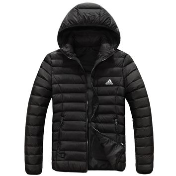 Adidas Autumn And Winter Fashion New Keep Warm Women Men High Quality Hooded Down Jacket Black