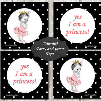 Editable-Baby princess Gift Tags Printables - Personalized - Black Dots Gift Tag