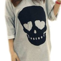 JSDY Summer Women's Skull Heart Irregular Causal Blouse Tops Plus Size Shirts Grey