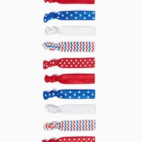 Stars and Chevron Hair Tie Set - Red White and Bold | Charming Charlie