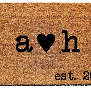 Personalized Initials and Date Doormat with Heart
