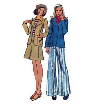 Jacket Skirt Pants 1970s Vintage Sewing pattern Simplicity 5571 Size 10 Bust 32 1/2 UNCUT FF