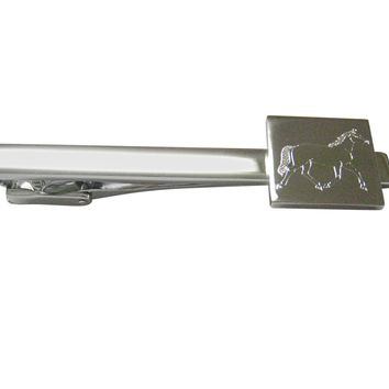 Silver Toned Etched Full Horse Square Tie Clip