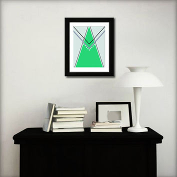 Abstract art print. Geometric print from original artwork with mint green.