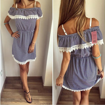 Black Stripe Print Off the Shoulder spaghetti Strap Ruffle Lace Shift Dress