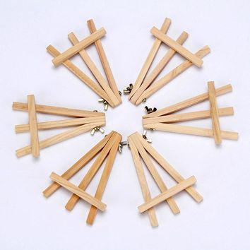 MEEDEN 9.5 Inch Mini Wood Easel Natural for Weddings Parties Dispaly Card Holder Stand and Artist Drawing Supplies, (6-Pack)