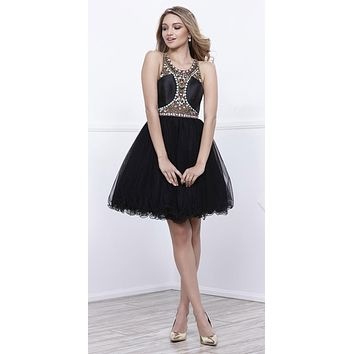 Black Beaded Cut Out Bodice Short Prom Dress Scoop Neckline