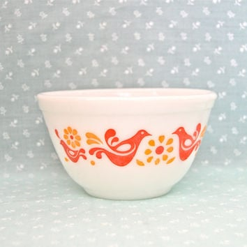 Pyrex Friendship Bowl #401/1 1/2 Pint/Friendship Pattern/Vintage Small Mixing Bowl/Kitchen Art