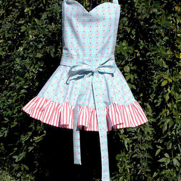 Bib Apron, Aqua Blue, sweetheart Bib, cooking, kitchen, Pin-up girl, gift, Ladies,