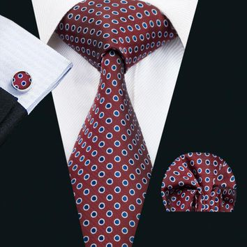 LS-1425 Barry.Wang Fashion Men`s Tie Red Polka Dot 100% Silk Necktie Hanky Cufflink Set For Men`s Wedding Party Groom Business