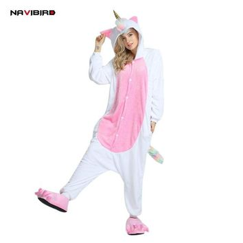 Long Sleeves Flannel Unicorn Onesuit Pajama For Women