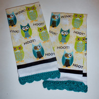 Owl Kitchen Towel, Jade Crochet Edging, Retro Kitchen