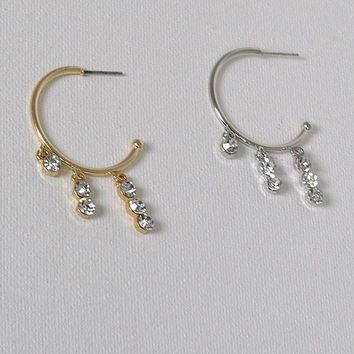Hoops Earrings With Crystal Pendants