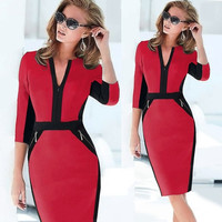 Women Colorblock Cotton Stretch Tunic Wear To Work Party Pencil Sheath Dress = 1956588420
