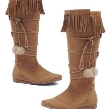 Women's 1 Inch Heel Boot With Fringe And Poms (6,Tan)