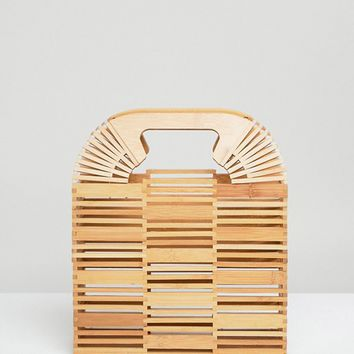 ASOS DESIGN Bamboo Square Boxy Clutch at asos.com