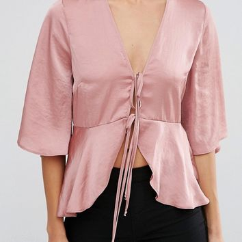 ASOS Satin Drape Tie Front Blouse at asos.com