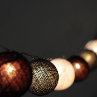 20 x Grey tone white smart classic Lantern cotton ball lantern string light patio outdoor decorate deco room bedroom wedding patio party
