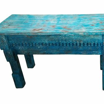 Mogul Interior Distressed Blue Wooden Antique Table Beautiful Hand Carved Vintage Console
