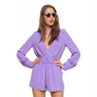 Light Purple V-neck Long Sleeve Pleated Romper