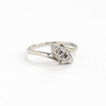 Vintage 14k White Gold Trilogy Diamond Ring - Size 7 1/4 1950s 1960s Mid-Century Engagement Anniversary Bypass Fine Jewelry