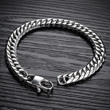 Never Fade Simple 316l Stainless Steel Punk Style Bracelet For Men Classic Biker Bicycle Heavy Metal 9-14mm Link Chain Jewelry