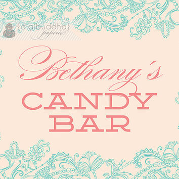Blush Pink & Aqua Candy Bar Sign Aqua Blue Lace Bridal Shower Wedding Buffet Food Table Sign Printable 8x10 DIY Digital or Printed - Bethany