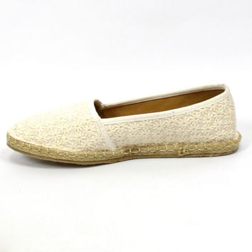 """Sunkis"" Floral Textured Espadrille Flats - White"