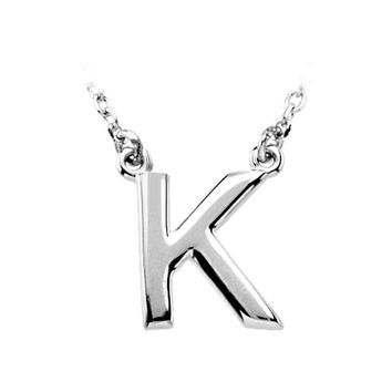 Sterling Silver, Kendall Collection, Block Initial K Necklace, 16 Inch