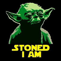"2.5"" Funny Marijuana STICKER. STONED YODA. Star Wars. Great for bong or pipe."