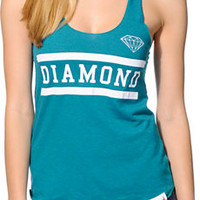 Diamond Supply Co. Girls Collegiate Teal Tank Top