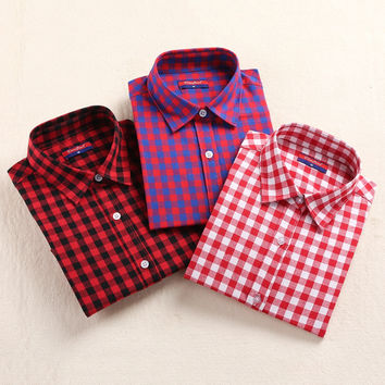 2015 Hot Sale! Plaid Shirt Women Casual Cotton Long Sleeve Blouse Plaid Turn-down Collar Button Camisetas Femininas Casual