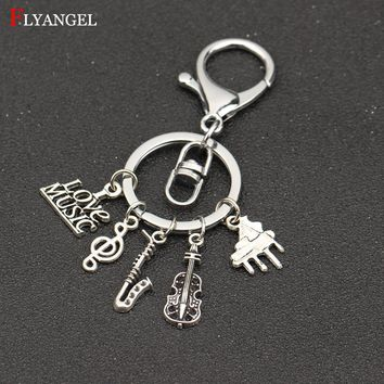 Fashion Jewelry I Love Music Treble Clef Music, Saxophone,Guitar, Piano Charms Alloy Keyring Men Women Best Friend Gift Keychain