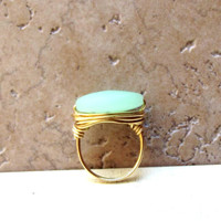 Seafoam Green Sea Glass Ring:  Brass Wire Wrapped Beach Jewelry, Mint Green, Size 7