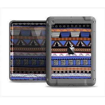 The Abstract Blue and Brown Shaped Aztec Apple iPad Mini LifeProof Nuud Case Skin Set
